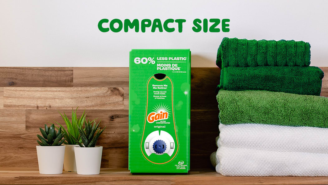 Gain Original Eco-Box Liquid Laundry Detergent's compact size makes it easier to store.