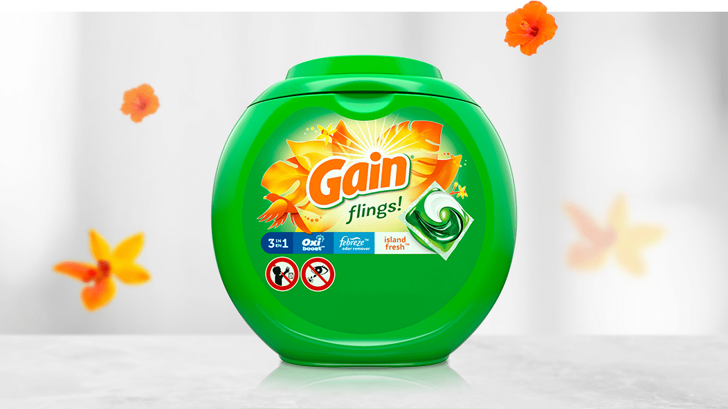 Gain Island Fresh Flings Laundry Detergent With Oxi Boost and Febreze Freshness