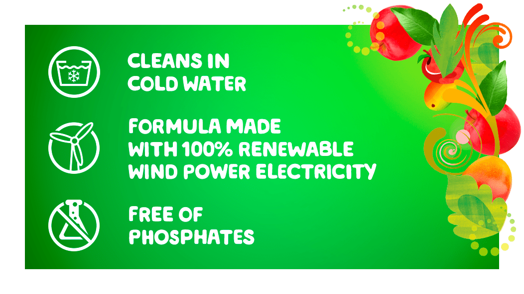 Gain Apple Mango Tango Liquid Laundry Detergent cleans in cold water, formula made with 100% renewable wind power electricity and free of phosphates.