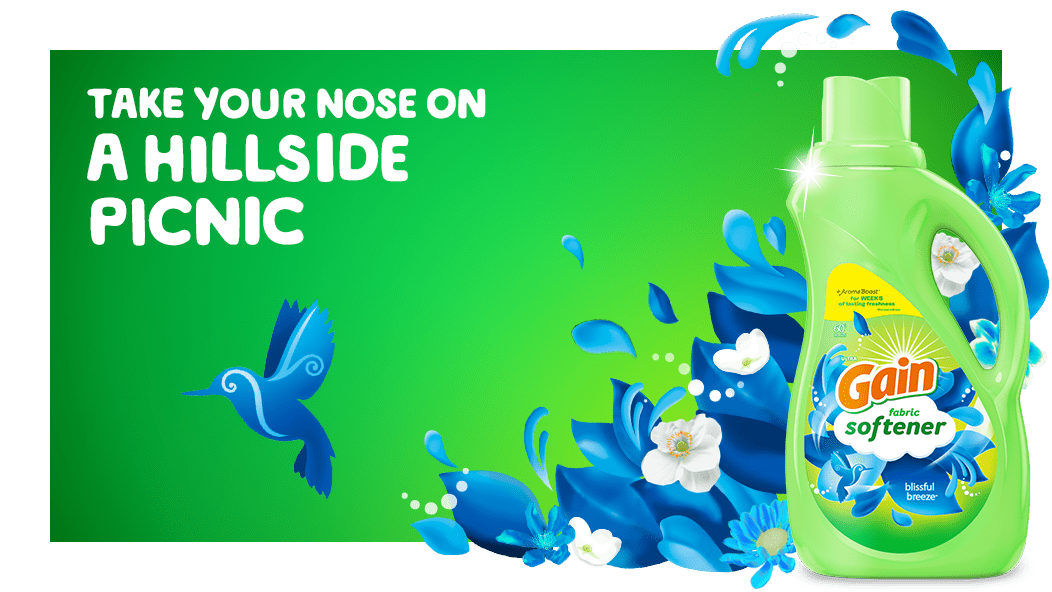 Take your nose on a hillside picnic with Gain Blissful Breeze Fabric Softener