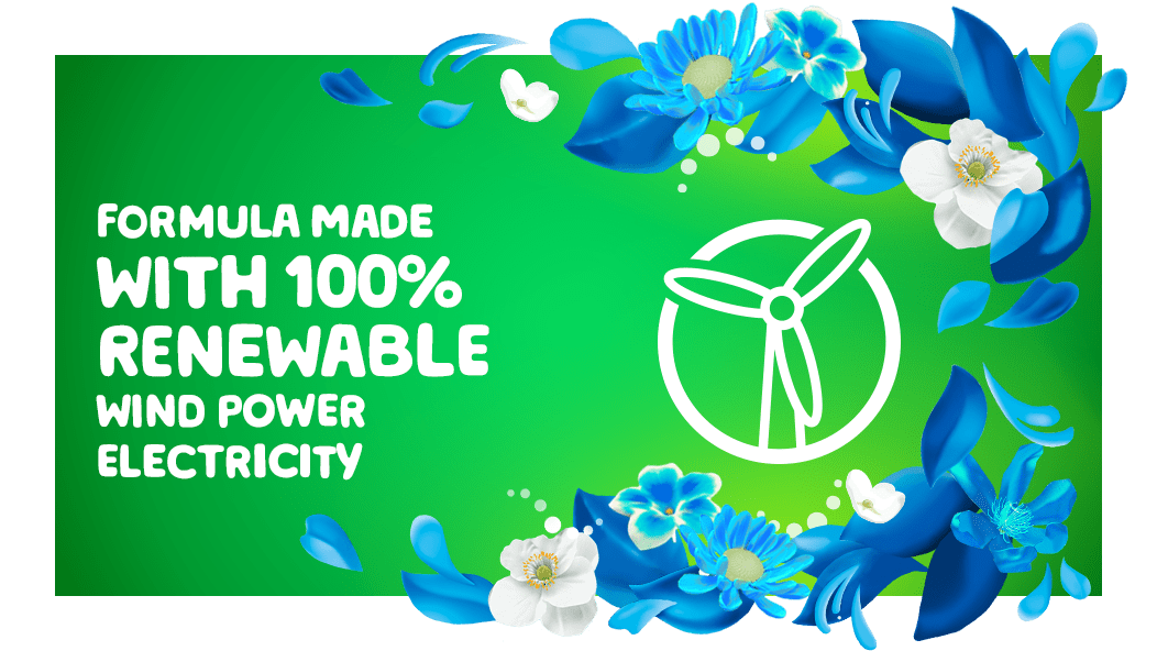 Gain Blissful Breeze Fabric Softener is a formula made with 100% renewable wind power electricity