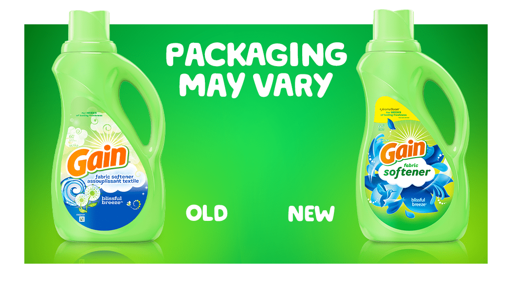 Gain Blissful Breeze Fabric Softener packaging may vary: old and new packaging