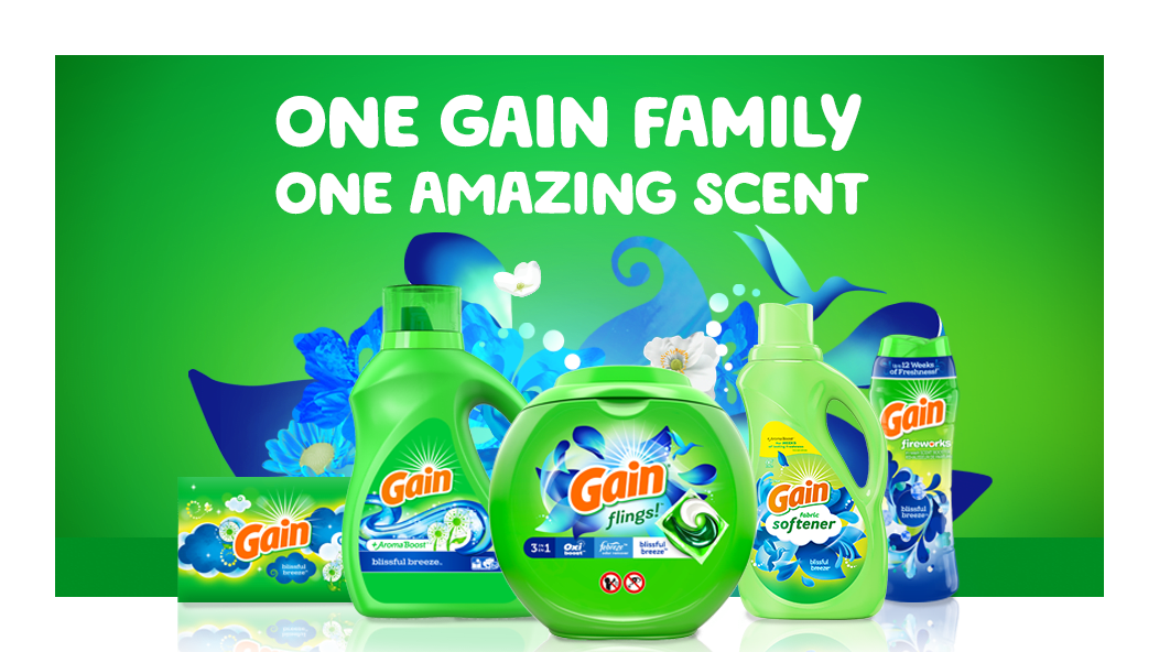 One Gain Family, one amazing scent: Gain Blissful Breeze Dryer Sheets, Liquid Laundry Detergent, Gain Flings and Fabric Softener
