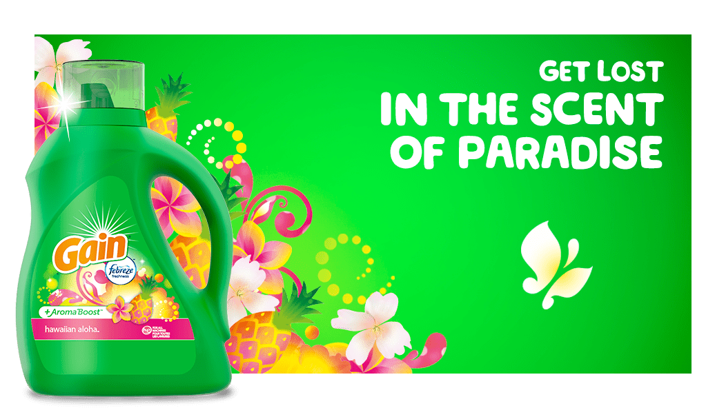 Get lost in the scent of paradise with Gain Hawaiian Aloha Liquid Laundry Detergent detergent