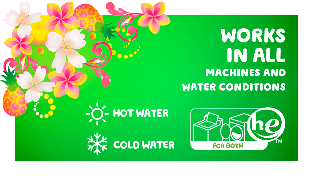 Gain Hawaiian Aloha Liquid Laundry Detergent works in all machines and water conditions