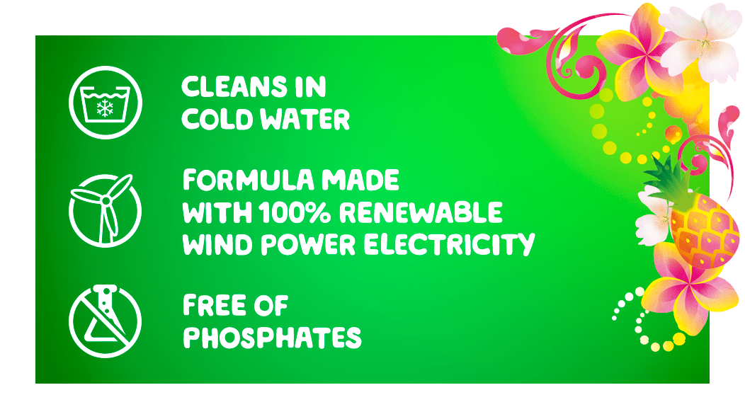 Gain Hawaiian Aloha Liquid Laundry Detergent cleans in cold water, the formula is made with 100% reneweable wind power electricity and it is free of phosphates
