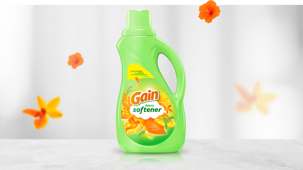 Gain Island Fresh Fabric Softener with new package design
