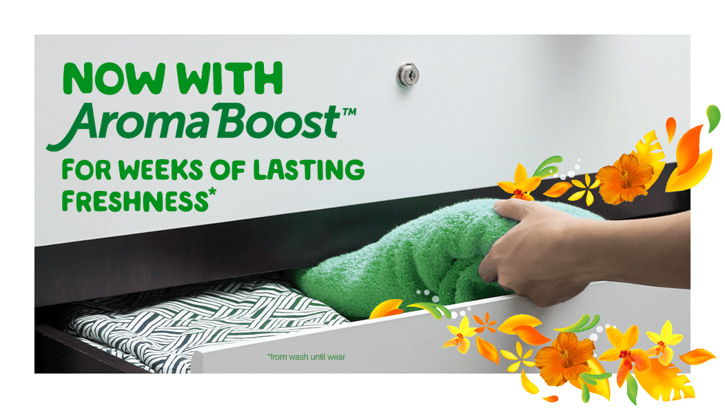 Gain Island Fresh Fabric Softener is now with Aroma Boost for weeks of lasting freshness