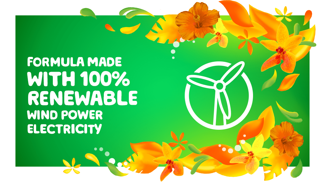 Gain Island Fresh Fabric Softener is a formula made with 100% renewable wind power electricity