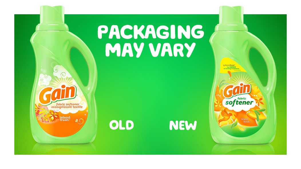 Gain Island Fresh Fabric Softener packaging may vary: old and new packaging