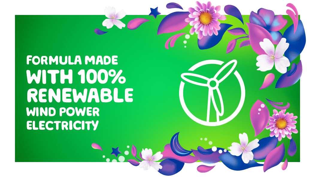 Gain Moonlight Breeze Fabric Softener is a formula made with 100% renewable wind power electricity