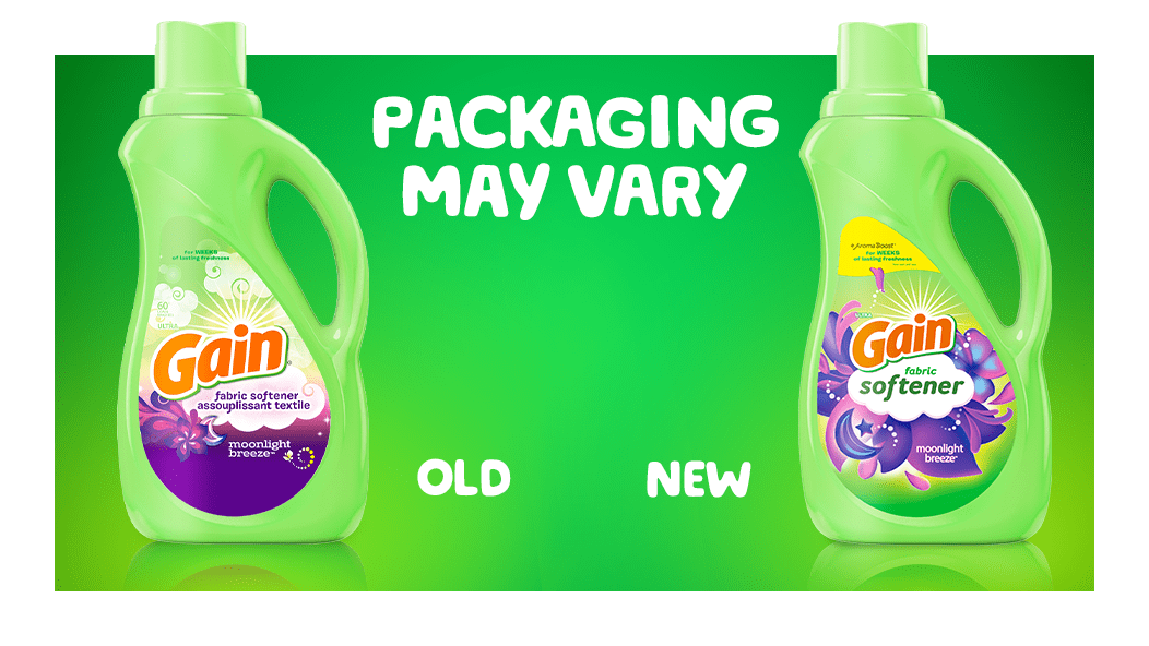 Gain Moonlight Breeze Fabric Softener packaging may vary: old and new packaging