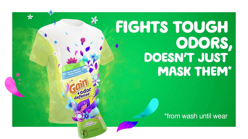 Gain+Odor Defense Super Fresh Blast Scent Booster fights tough odors, doesn't just mask them