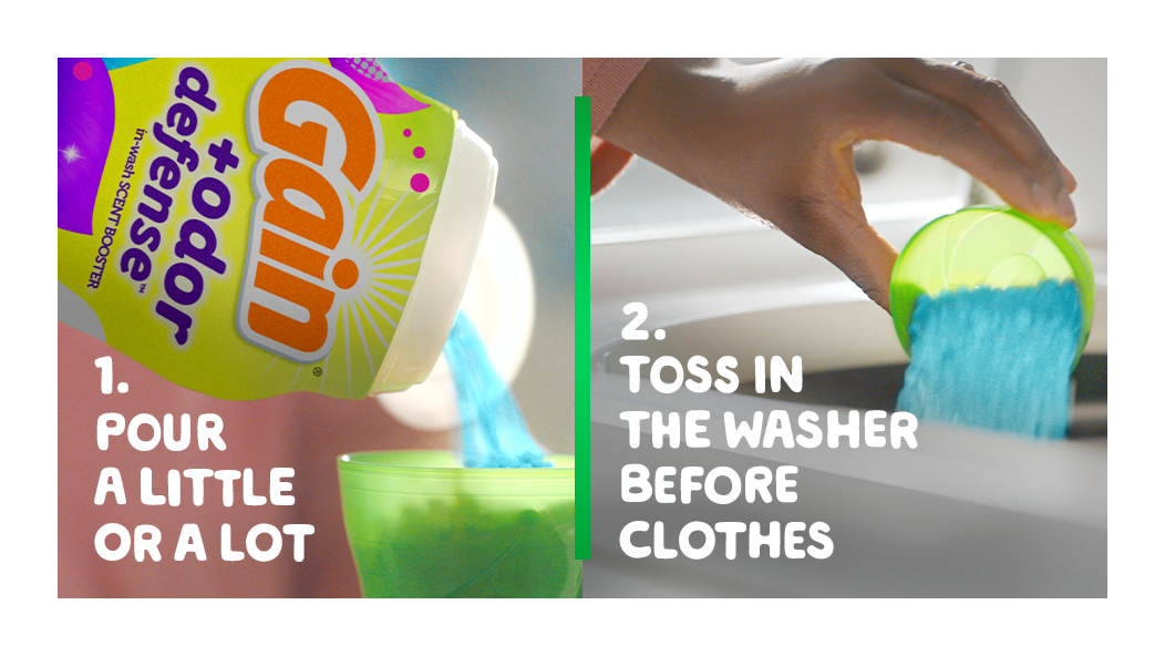 Pour a little or a lot of the scent-booster then toss in the washer before the clothes