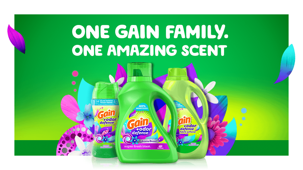 One Gain family, one amazing scent: Gain liquid laundry detergent, fabric softener and scent booster are available in Super Fresh Blast scent