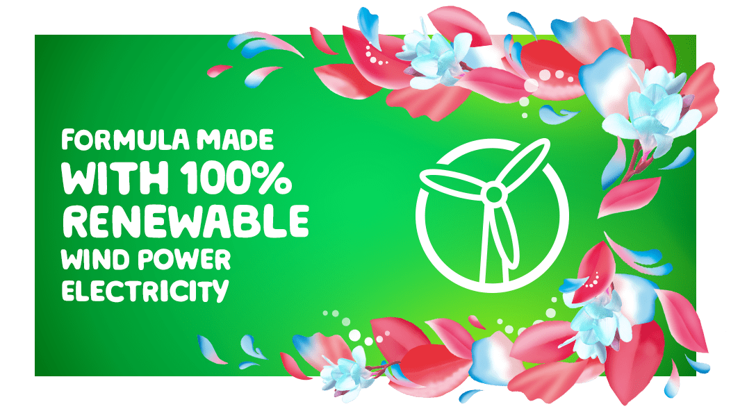 Gain Spring Daydream Fabric Softener is a formula made with 100% renewable wind power electricity