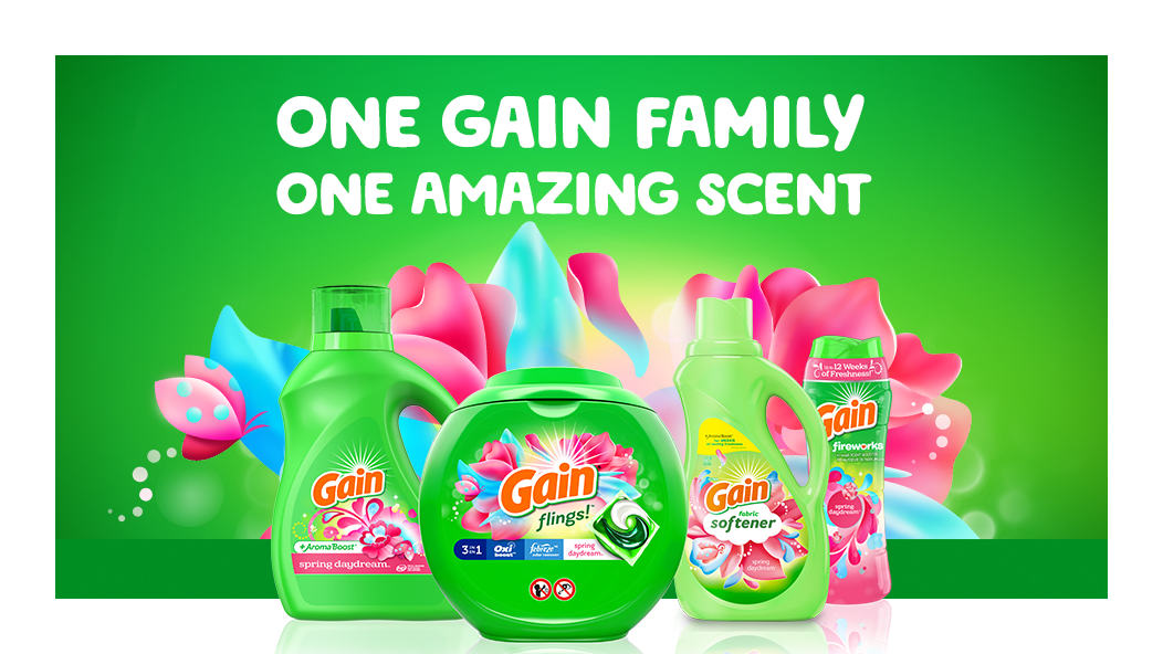 One Gain Family, one amazing scent: Gain Spring Daydream Liquid Laundry Detergent, Gain Flings, Fabric Softener and Gain Spring Daydream Scent Booster