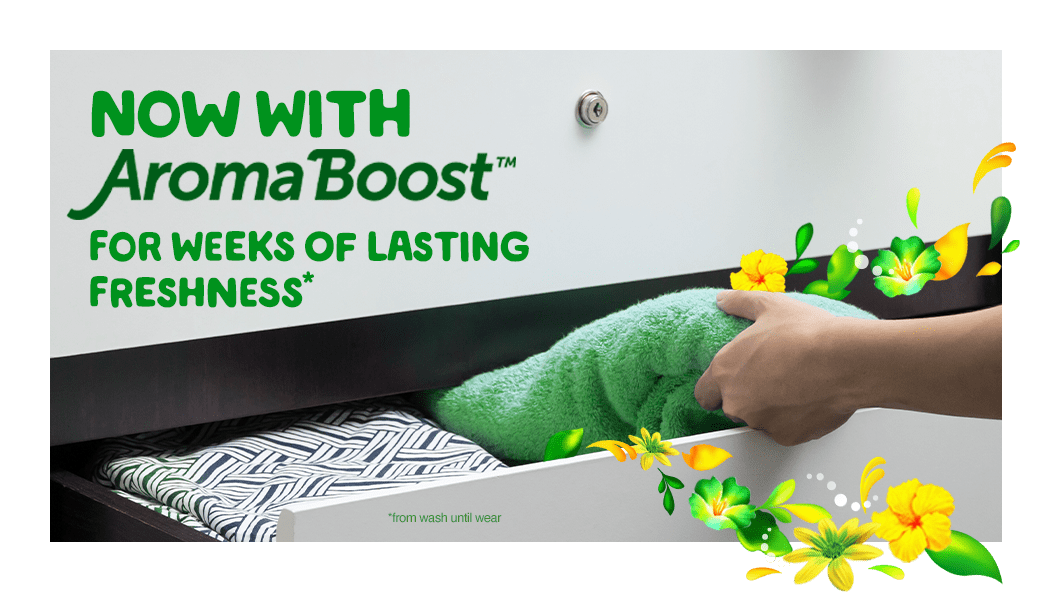 Gain Original Fabric Softener now with Aroma Boost for weeks of lasting freshness* *from wash until wear
