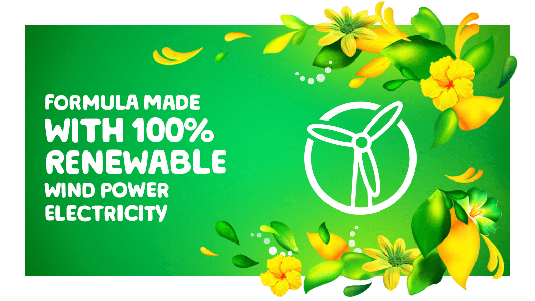 Gain Original Fabric Softener formula is made with 100% renewable wind power electricity