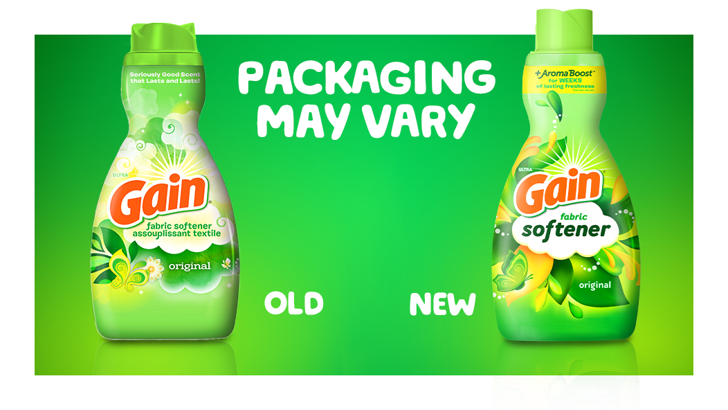 Packaging may vary: the picture is showing 2 bottles of Gain Original Fabric Softner with old and new packaging