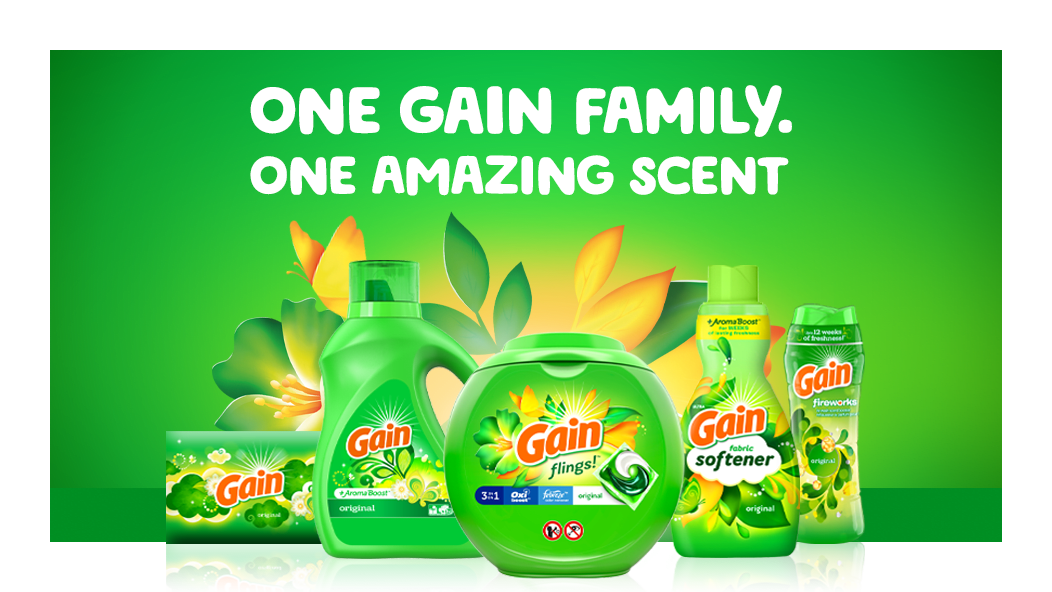 One Gain family, one amazing scent: Gain Original Dryer Sheets, Gain Original Liquid, Gain Flings, Gain Original Fabric Softener, Gain Original Fireworks Scent Booster