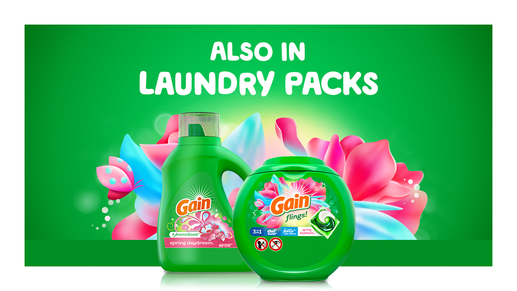 Gain Spring Daydream Laundry detergent is also available in laundry packs