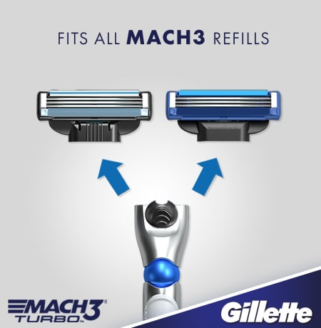 Gillette mach3 turbo 3D razor handle that fits all mach3 refills