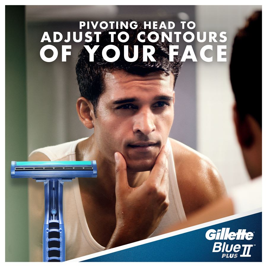 Gillette Blue II Plus – Pivoting head to adjust to contours of your face.