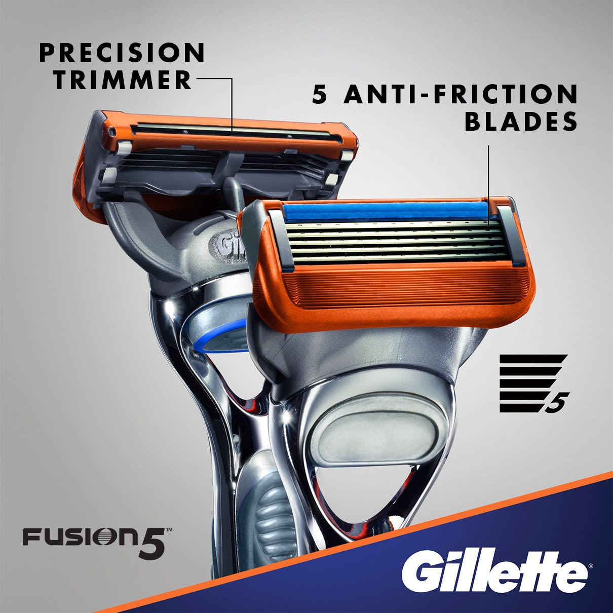 Precision trimmer, 5 anti-friction blades