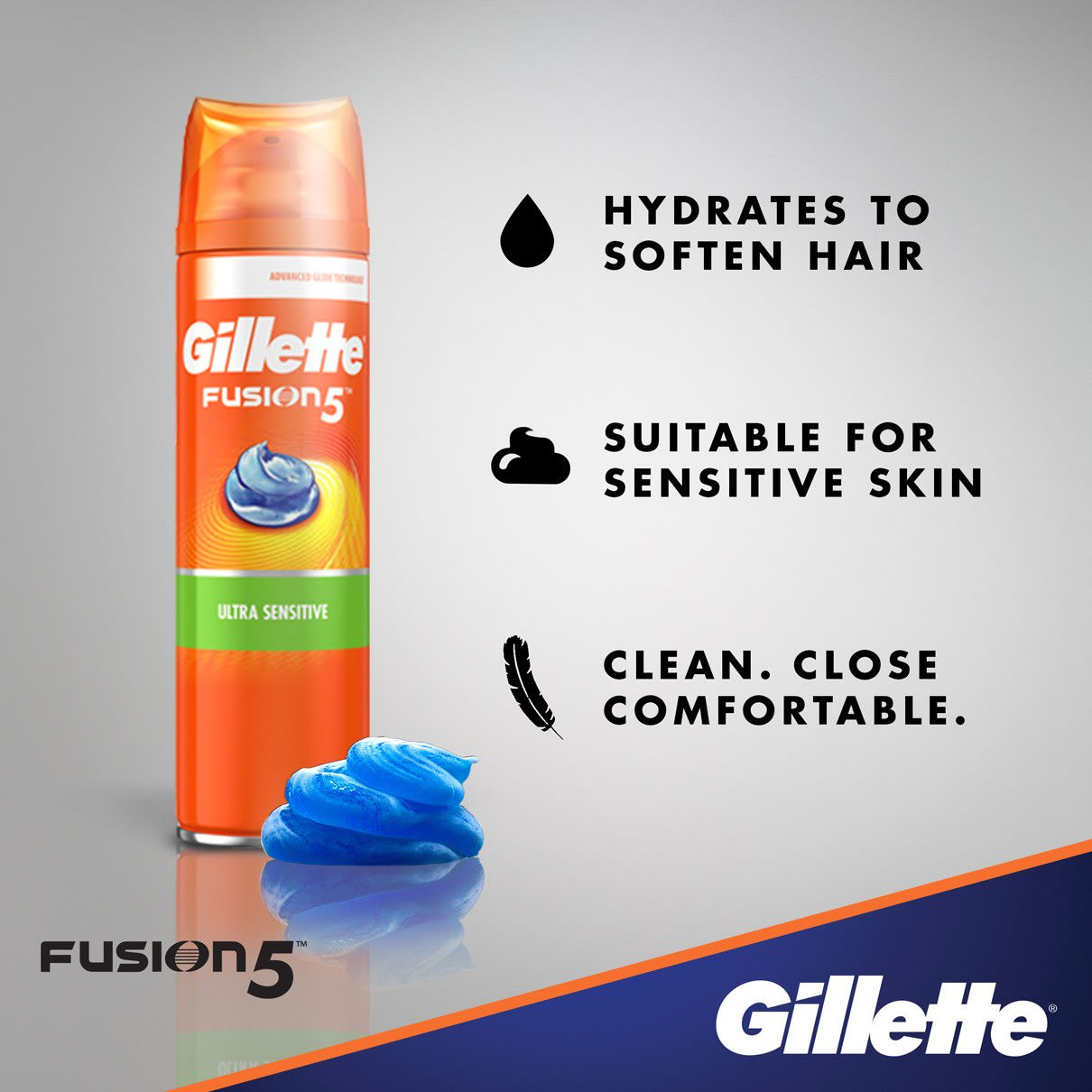 Hydrates to Soften Hair I Gillette Fusion5 Ultra Sensitive Shave Gel