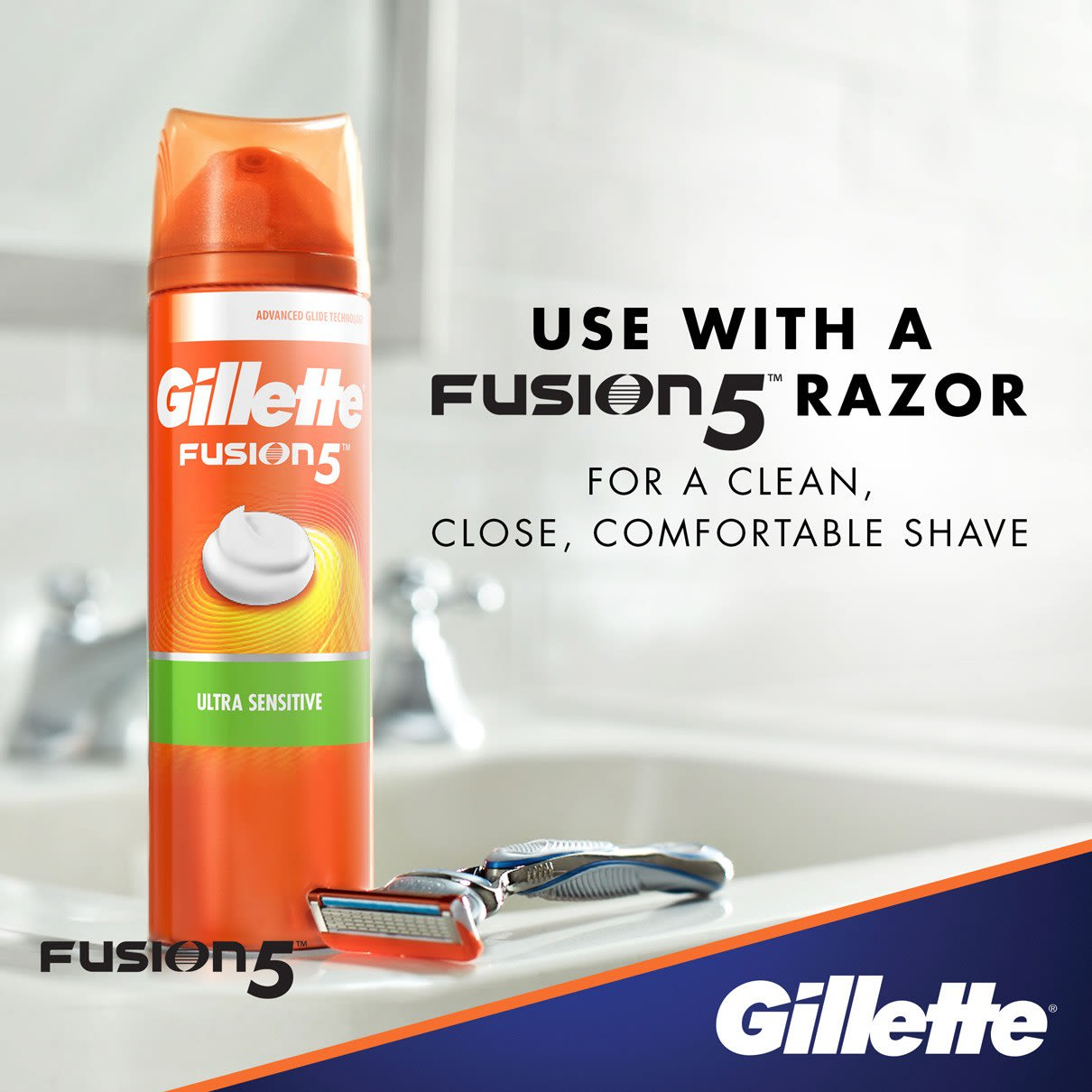 Use with a Fusion5 Razor I  Gillette Fusion5 Ultra Sensitive Shave Foam