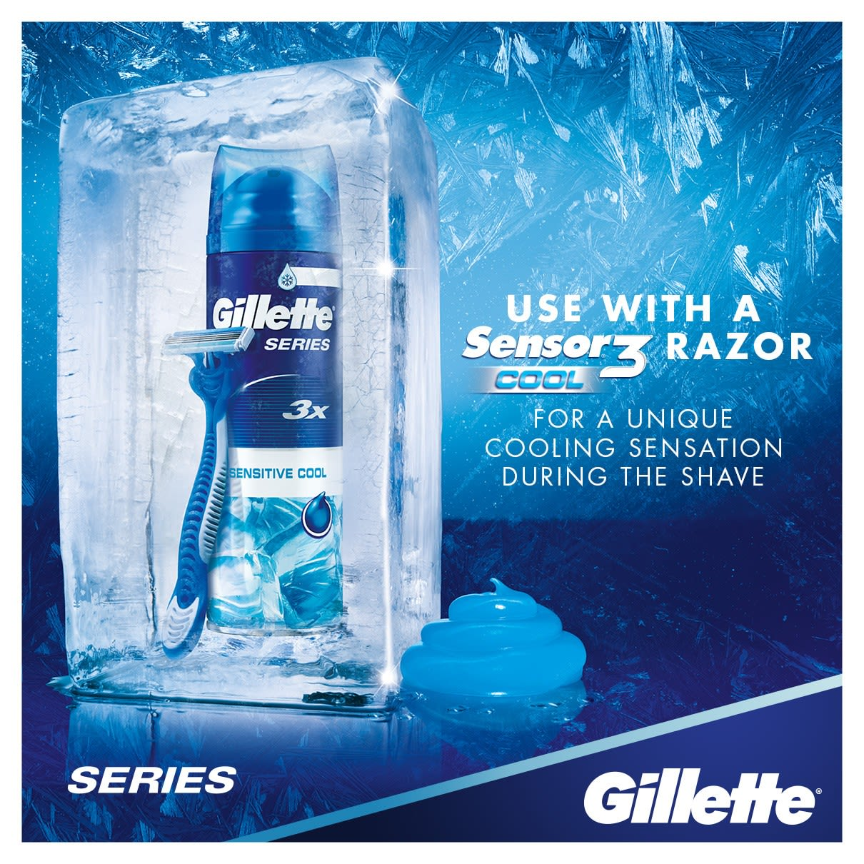 Use With A Sensor3 Cool Razor For a Unique Cooling Sensation | Gillette Series Sensitive Cool Shave Gel