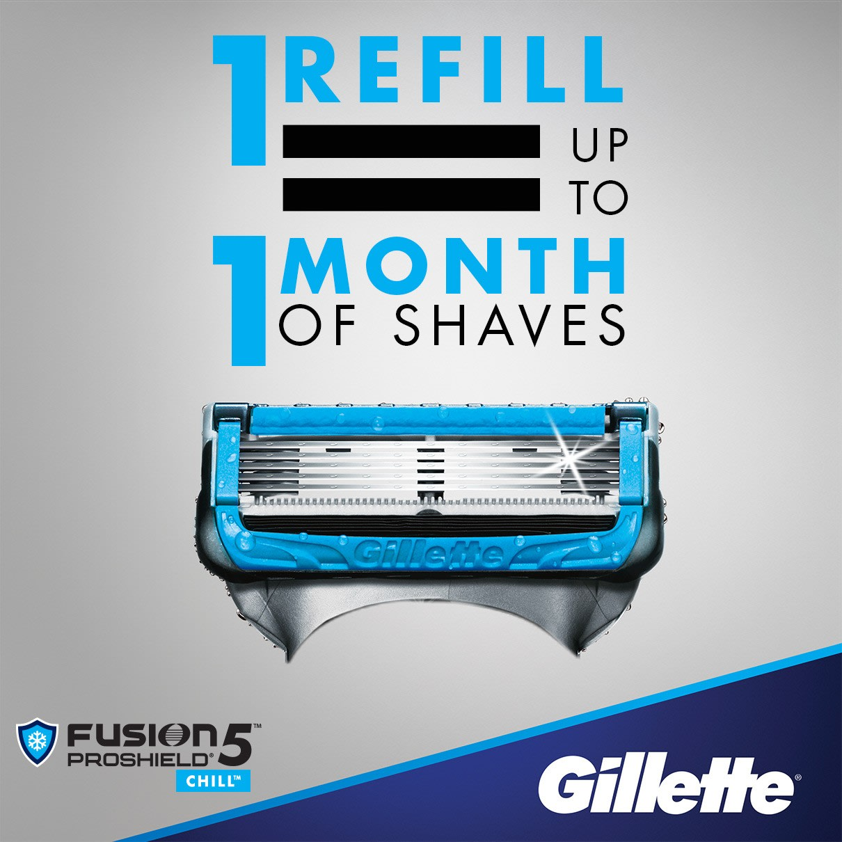 1 refill = up to 1 month of shaves