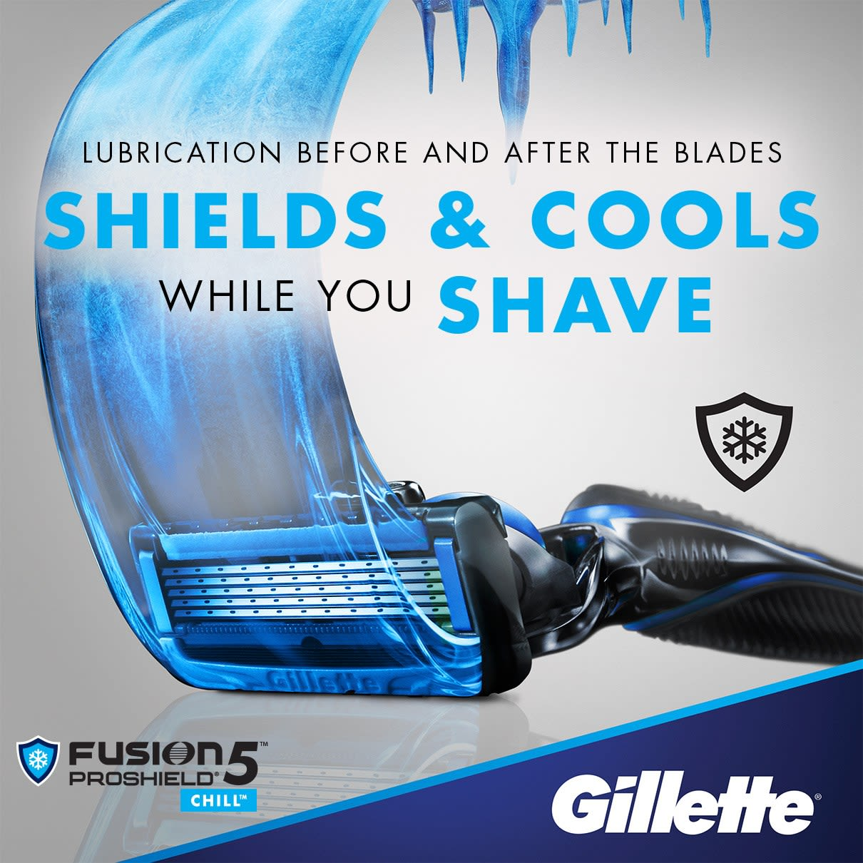lubrication before and after the blades shields & cools while you shave