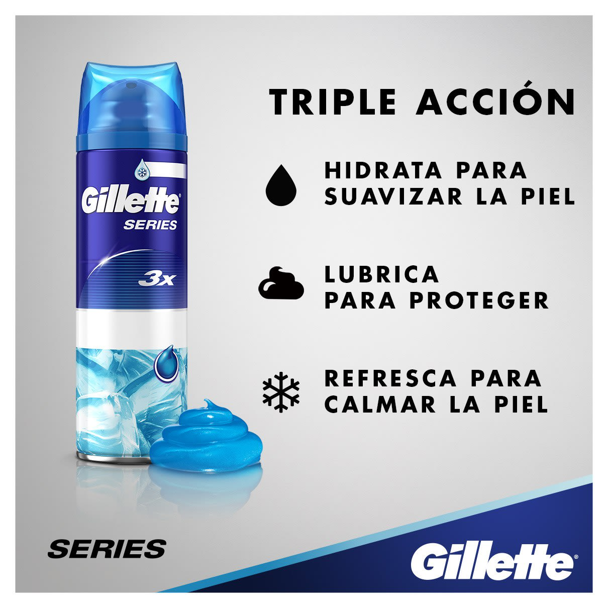 Triple acción | Gillette Series Sensitive Cool Gel De Afeitado