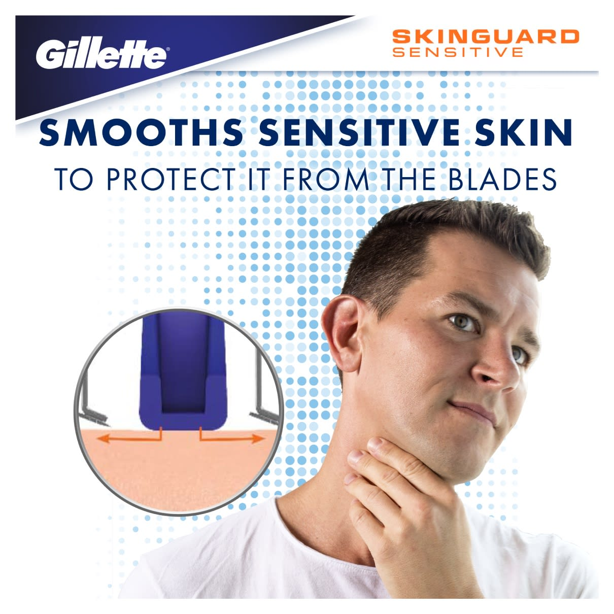 SMOOTHS SENSITIVE SKIN TO PROTECT IT FROM THE BLADES