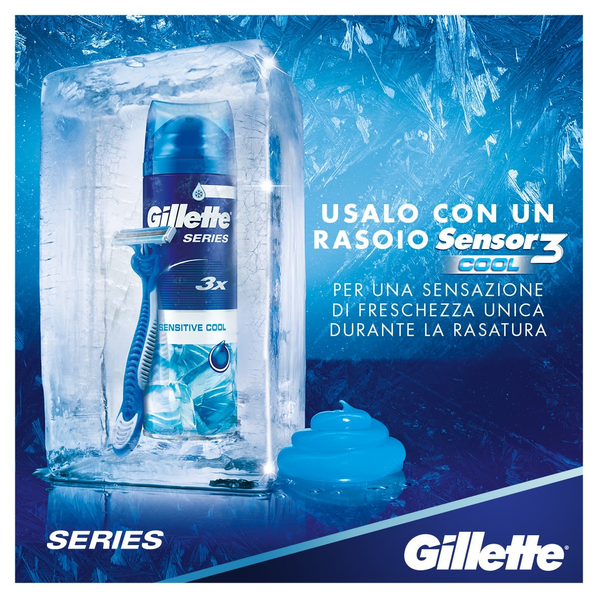 Usalo con un rasoio Sensor®3 Cool per una sensazione di freschezza unica | Gel da barba Gillette Series Sensitive Cool