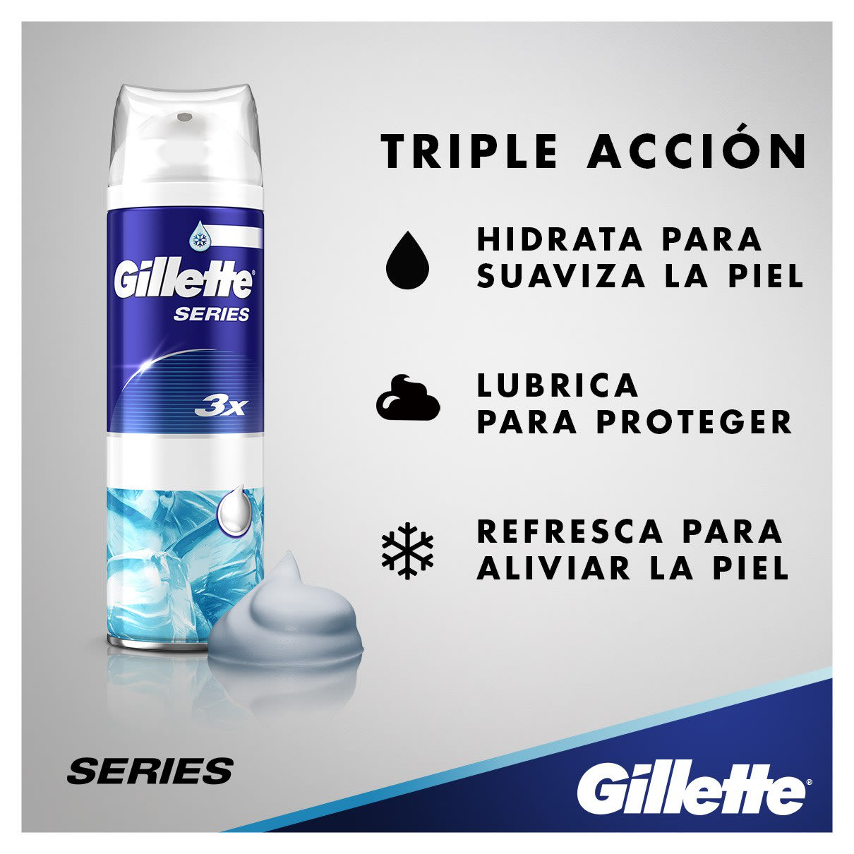Triple acción | Espuma de afeitar Sensitive Cool de Gillette Series