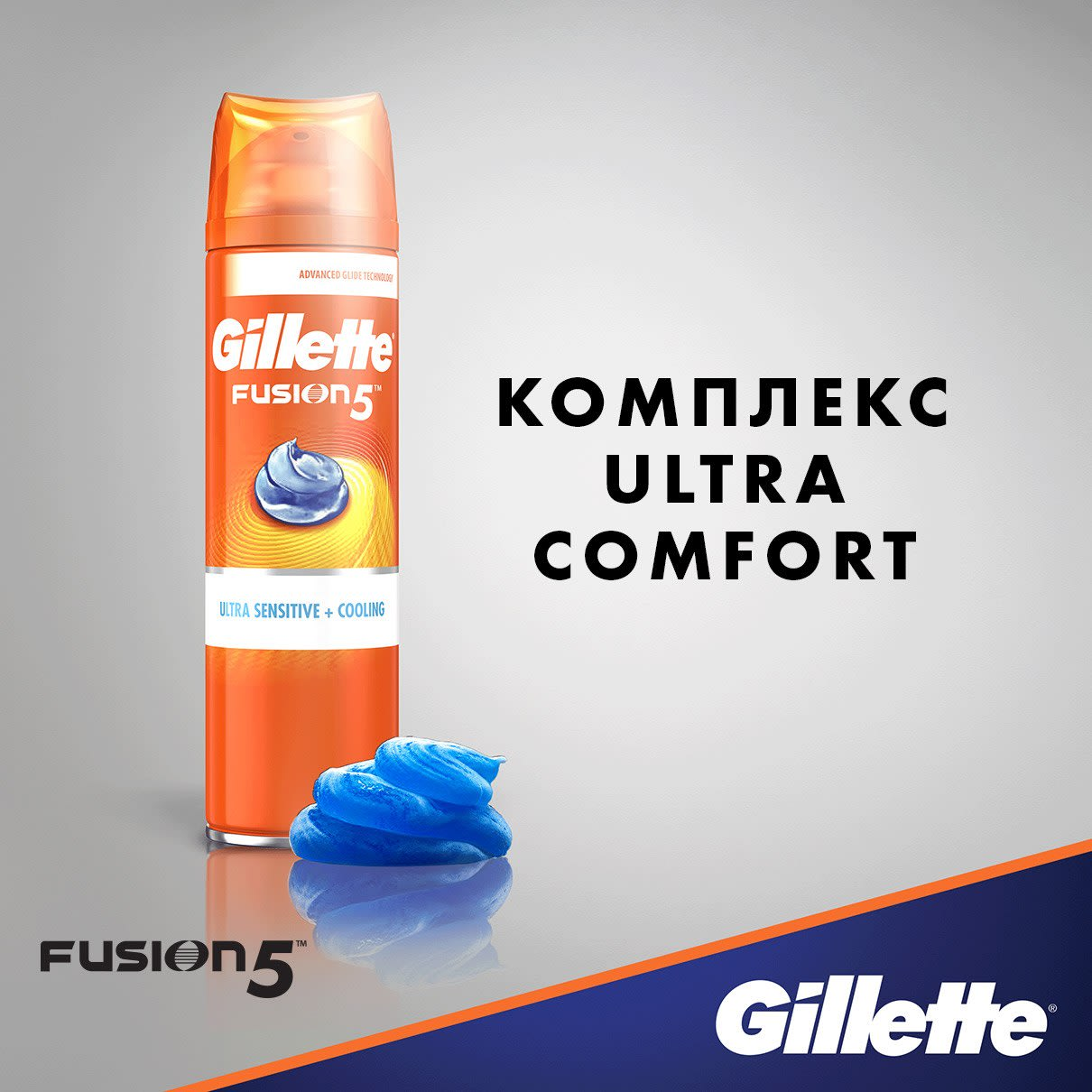 Комплекс Ultra Comfort I Гель для бритья Gillette Fusion5 Ultra Sensitive + Cooling