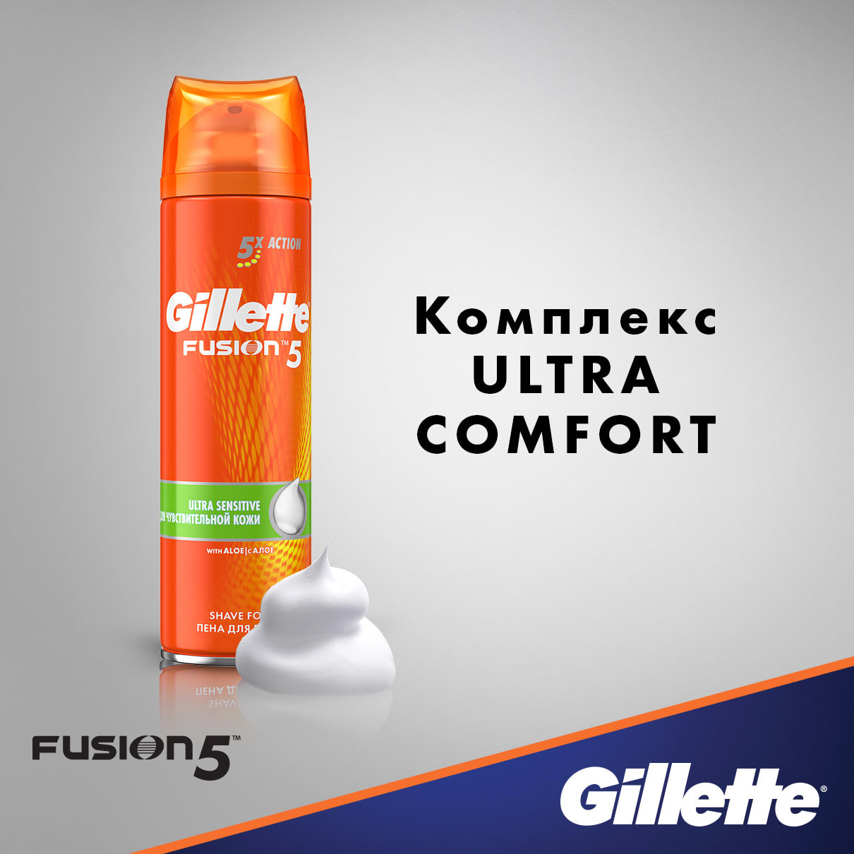 Комплекс Ultra Comfort I Пена для бритья Gillette Fusion5 Ultra Sensitive