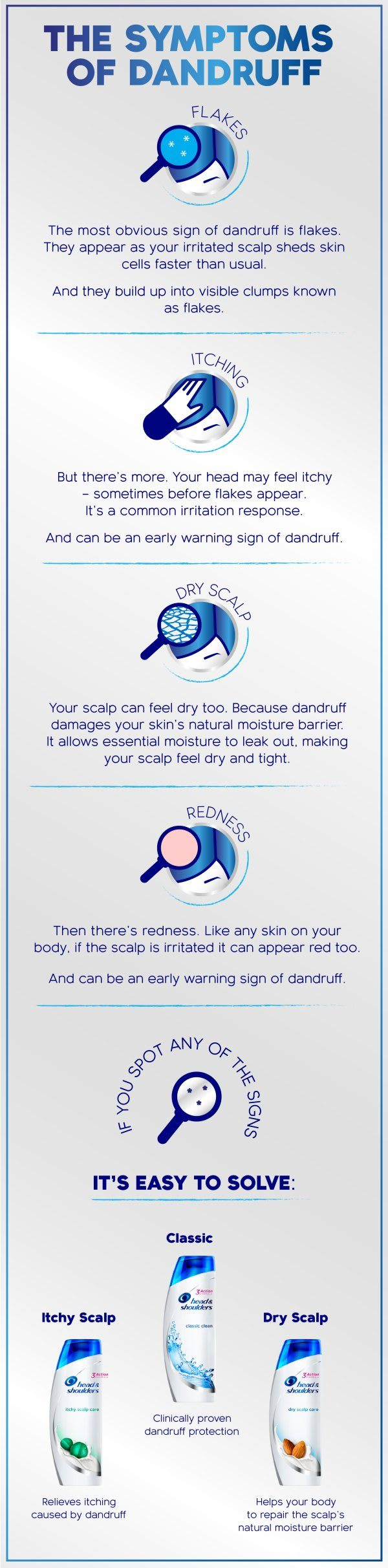 Symptoms of Dandruff Infographic