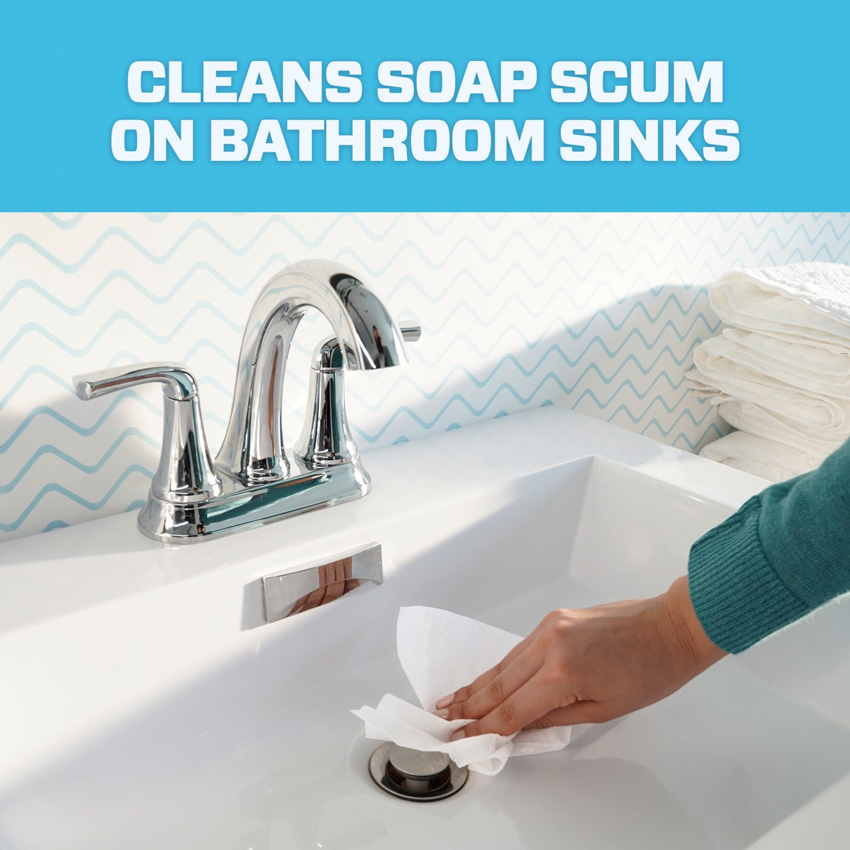 Mr. Clean cleans soap scum on bathroom sinks