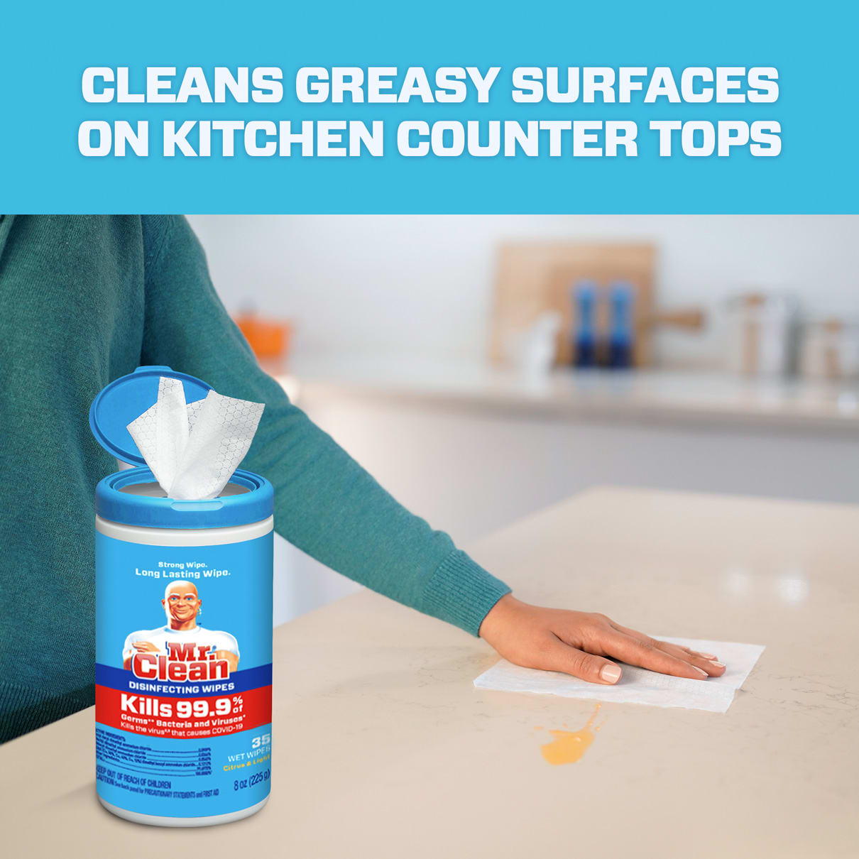Mr. Clean cleans greasy surfaces on kitchen counter tops
