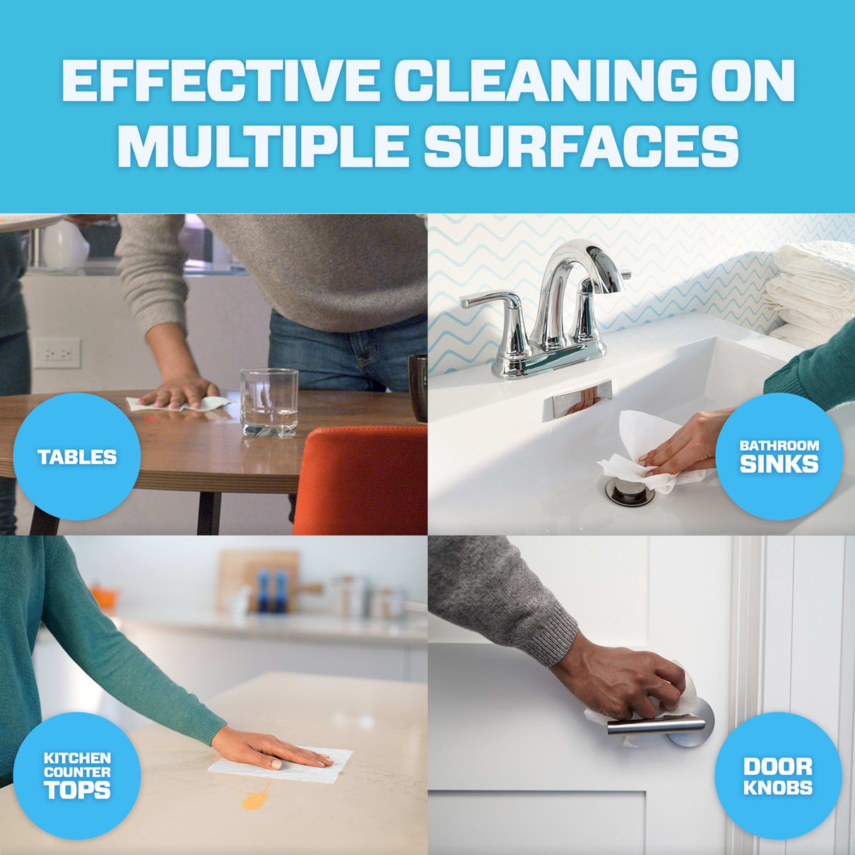 Mr. Clean cleans effectively on multiple surfaces