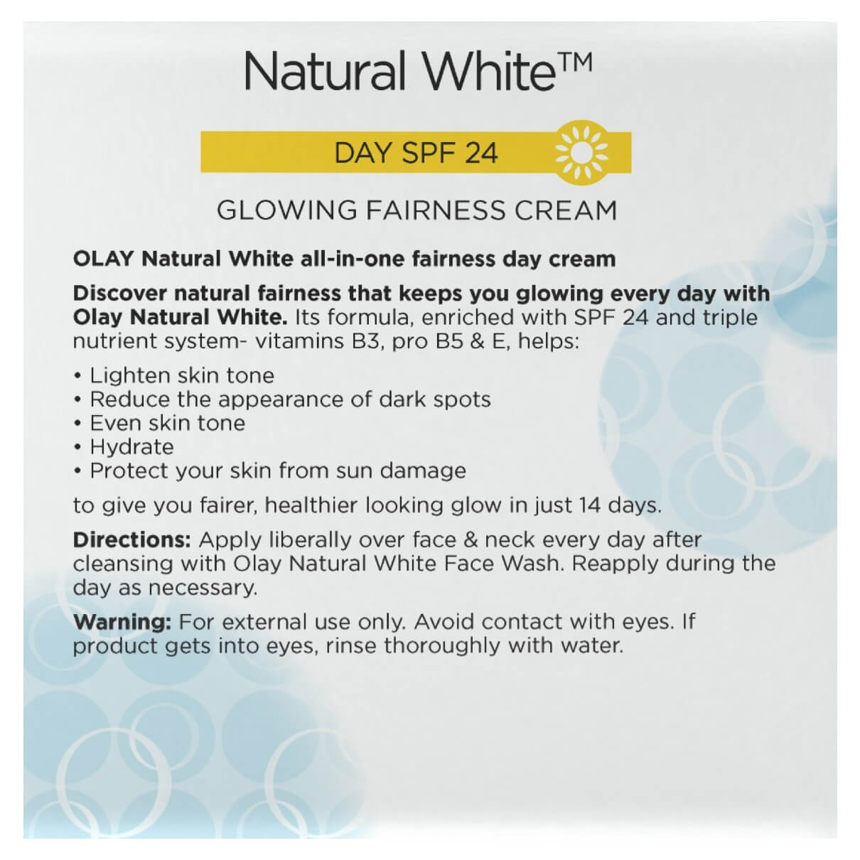 natural white day cream secondary data