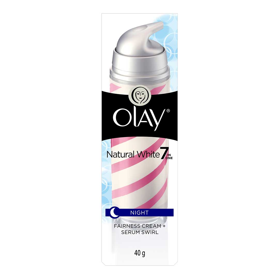 Olay Natural White 7 IN ONE Night Fairness Cream + Serum Swirl