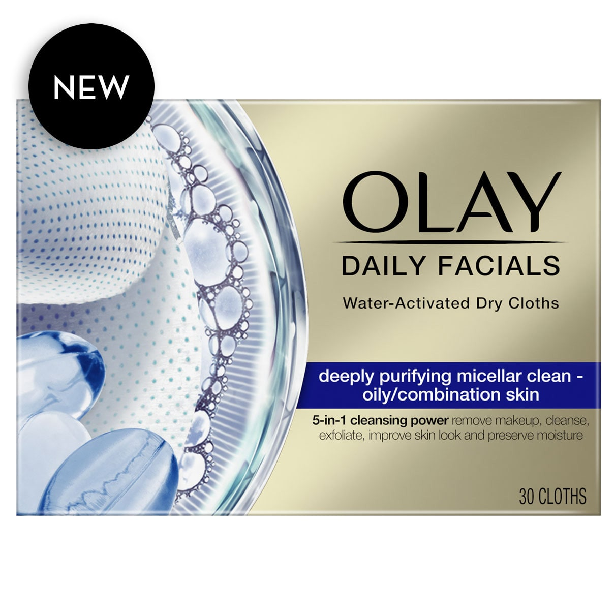 Olay Daily Facials, Oily skin, 30 Cloths