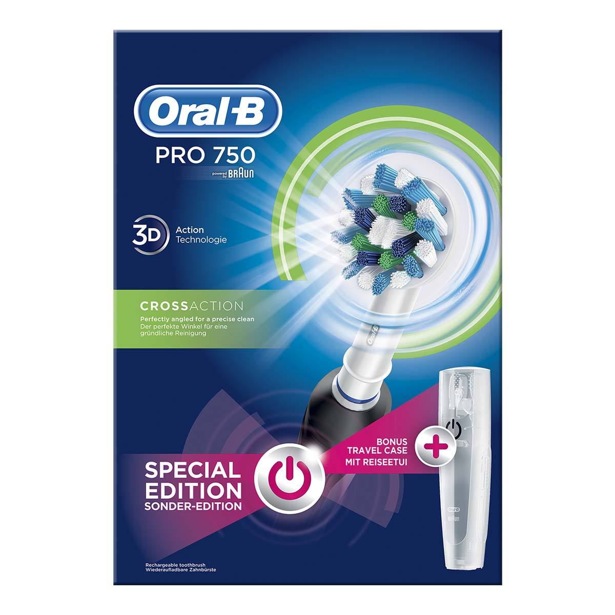 Oral-B Pro750 Black CrossAction elektrisk tandbørste (økonomipakke)