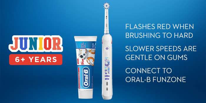 JUNIOR  6+ YEARS FLASHES RED WHEN BRUSHING TO HARD  SLOWER SPEEDS ARE GENTLE ON GUMS  CONNECT TO ORAL-B FUNZONE