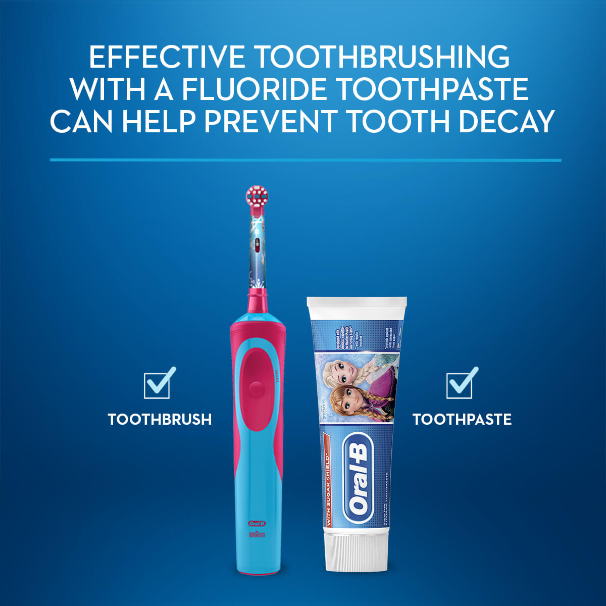 Electric toothbrush and fluoride toothpaste to avoid tooth decay